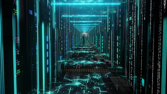 Man Moving Through Data Center with Server Racks LED Lights