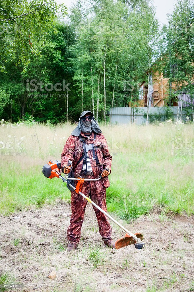 Man mowing grass with a trimmer foto stock royalty-free