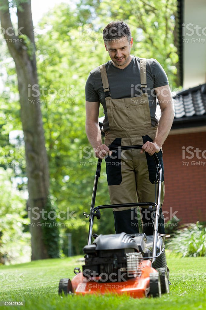 Man mowing the grass stock photo