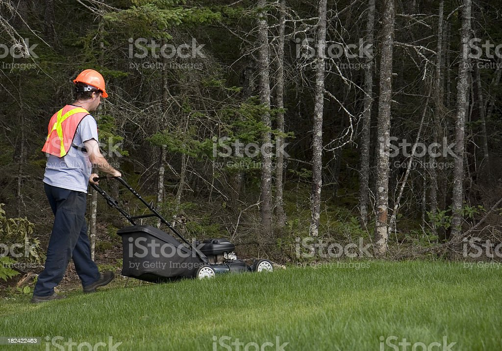 Man Mows Grass Wearing Safety Equipment stock photo