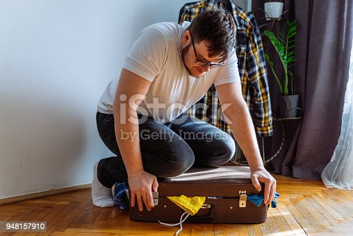 1067846662 istock photo man need help to close suitcase. overloaded bag with clothes. travel concept 948157910