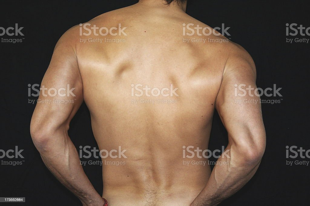 Man Nude Body Back royalty-free stock photo