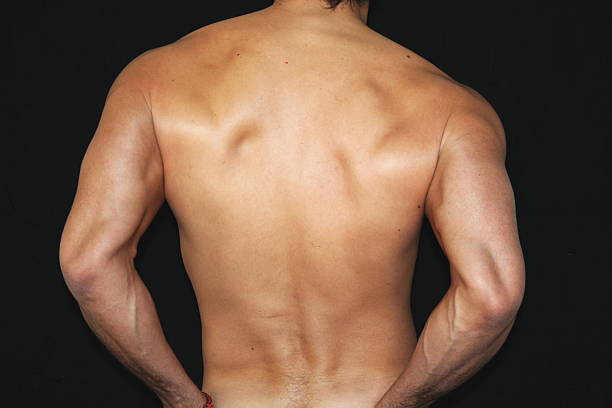 Man Nude Body Back Man nude body - Black background  hot sexy butts stock pictures, royalty-free photos & images