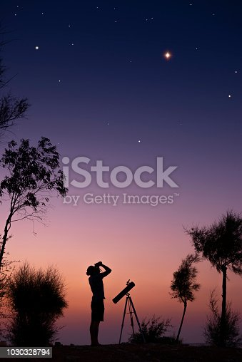 A man observing the night sky.
