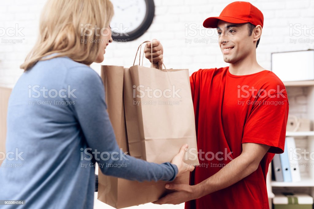 A man of Arab nationality works in delivery. The girl received the...