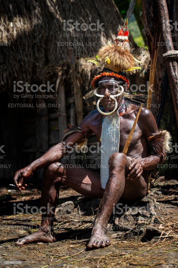 Man of the Dani tribe in traditional clothing, West-Papua - Stock image .