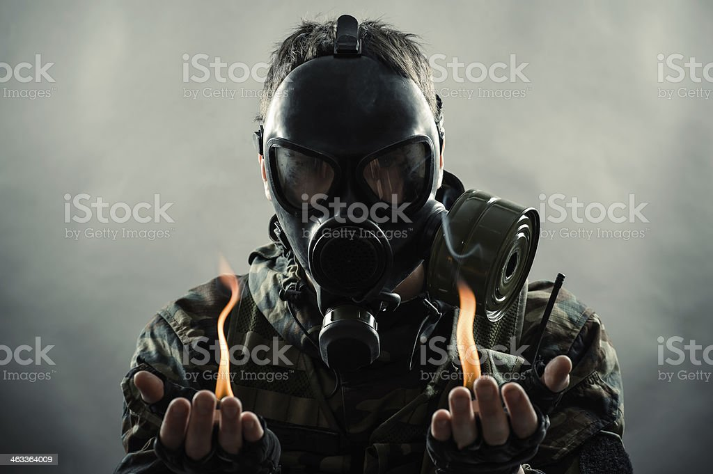 man of the post nuclear future stock photo