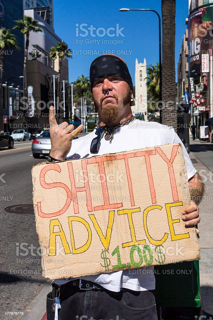 Man Offering Bad Advice In Hollywood, California stock photo