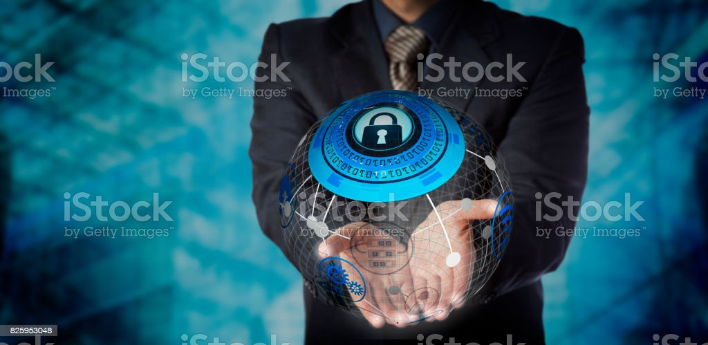 Man Offering Secure Managed Data Storage Services stock photo