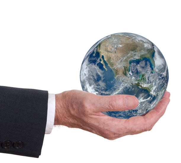 Man offers the world, the earth. Corporate responsibility. Environmental concept. stock photo