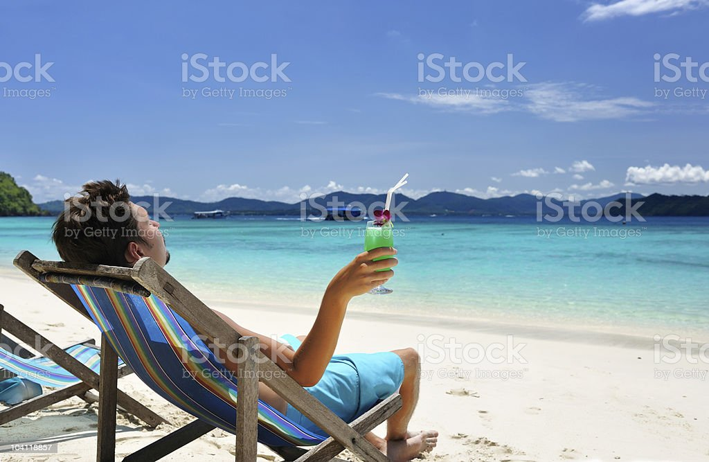 Man on a beach royalty-free stock photo