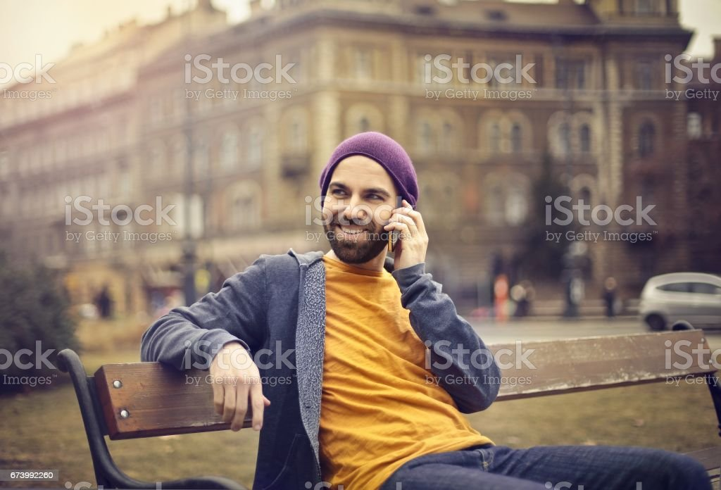 Man on a bench royalty-free stock photo