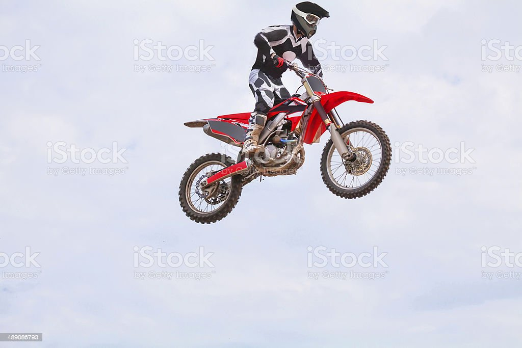 Man On A Dirt Bike Mid Air Stock Photo More Pictures Of Activity