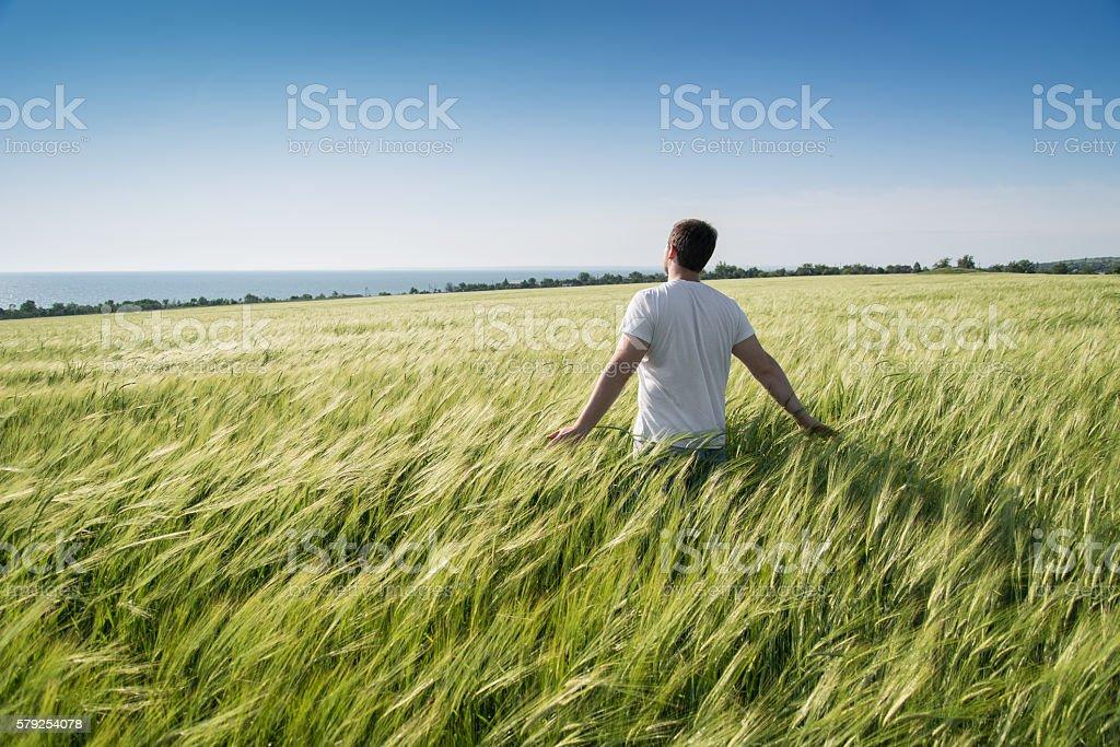 man on a field stock photo