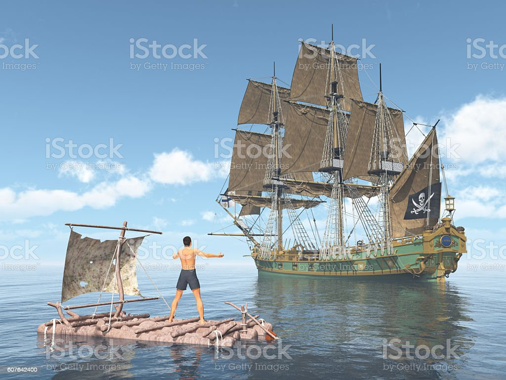 Man on a raft and pirate ship stock photo