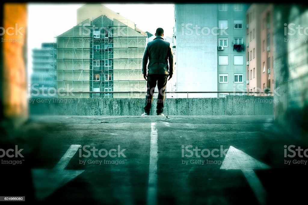 Man on a roof stock photo