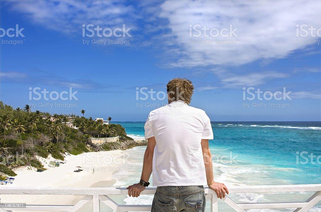 Man on balcony royalty-free stock photo