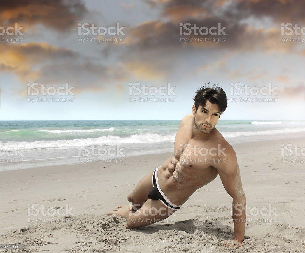 Man on beach sexy royalty-free stock photo