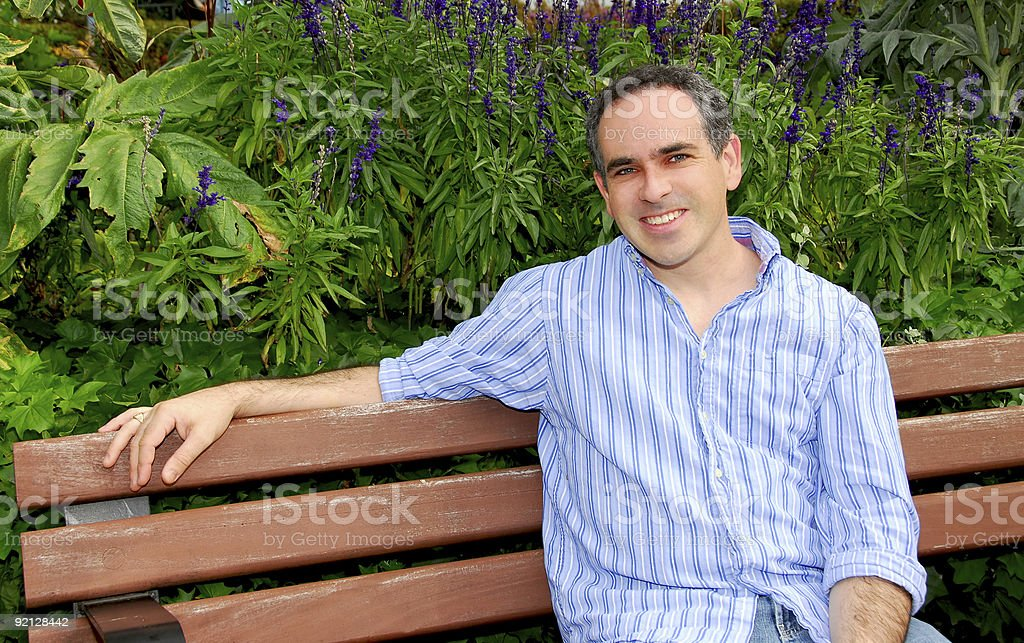 Man on bench royalty-free stock photo