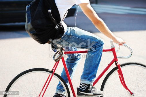 863454090 istock photo Man on bicycle in motion 184279129