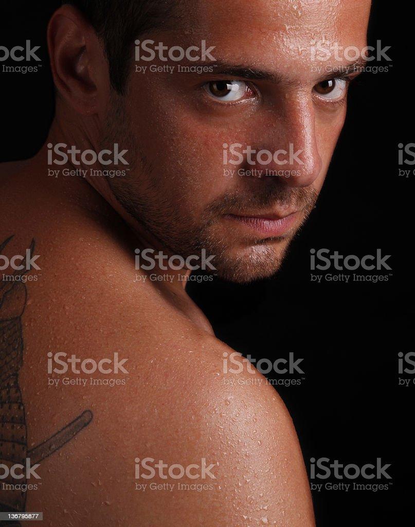 Man on black royalty-free stock photo