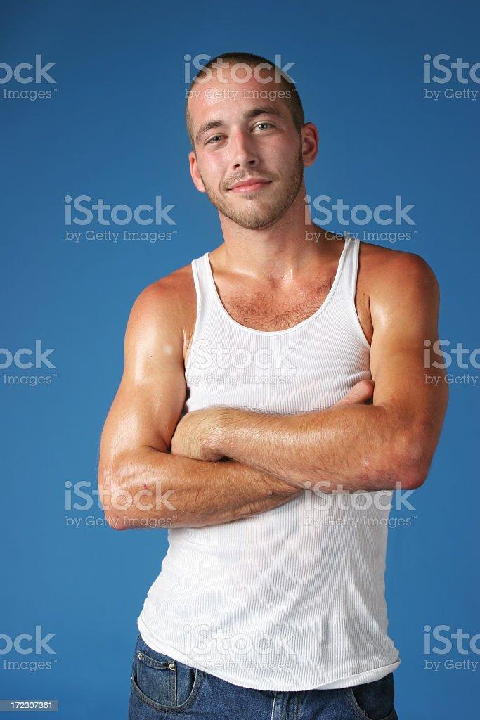 Man on Blue royalty-free stock photo