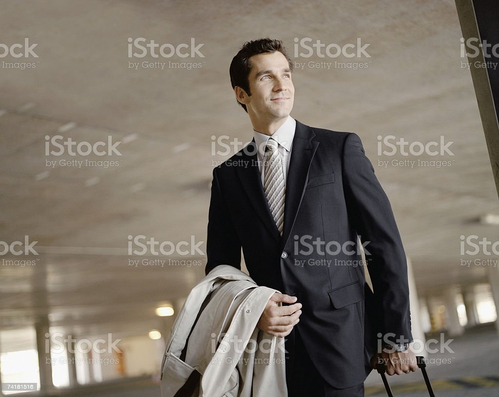 Man on business trip stock photo