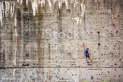 istock Man on climbing wall, Germany, Europe 664612120