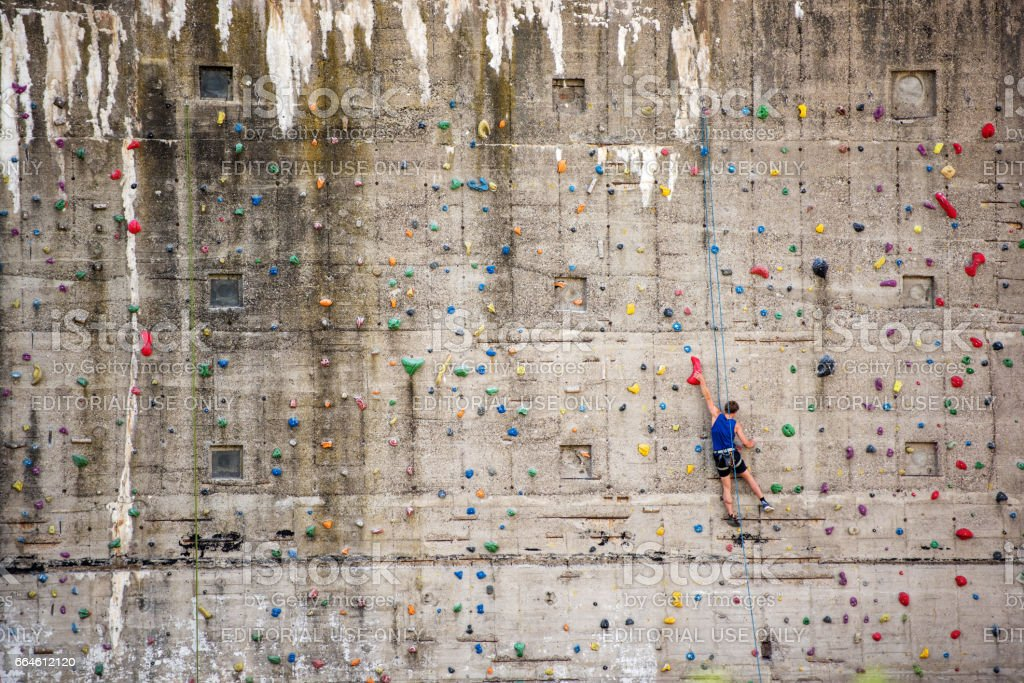 Man on climbing wall, Germany, Europe stock photo