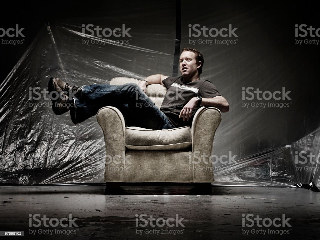 Man on Couch royalty-free stock photo