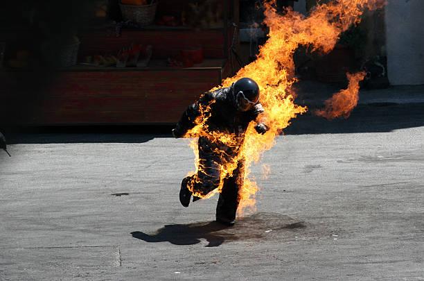 Man on Fire stock photo