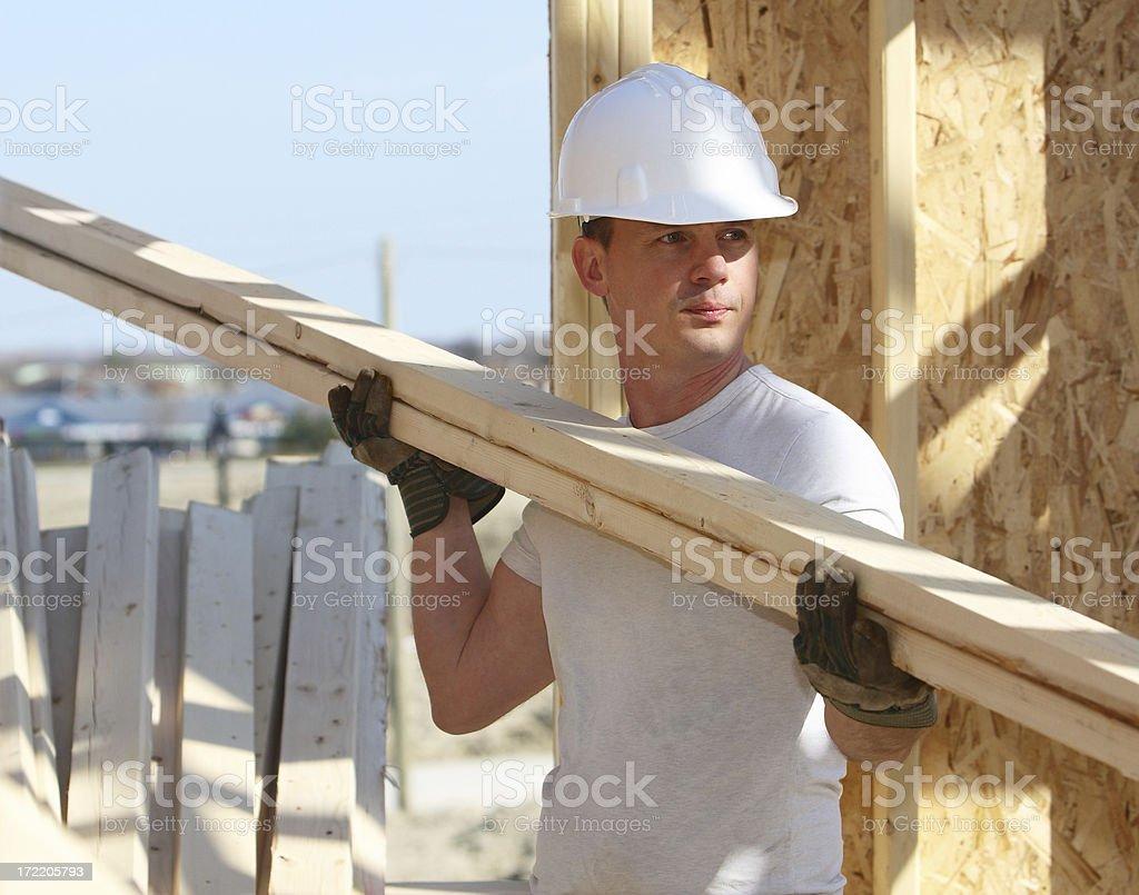 Man On Framing Crew royalty-free stock photo