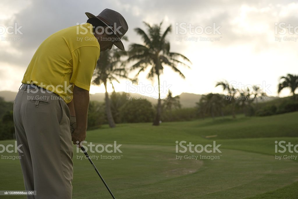 Man on golf course playing golf at dusk royalty free stockfoto