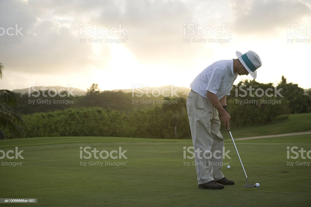 Man on golf course playing golf royalty free stockfoto