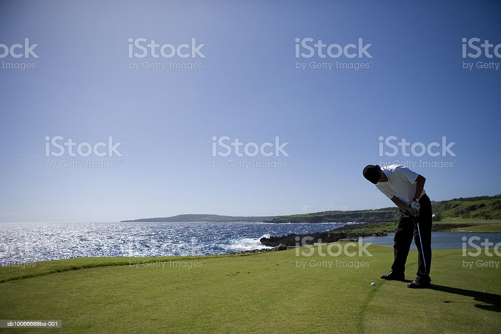 Man on golf course putting 免版稅 stock photo