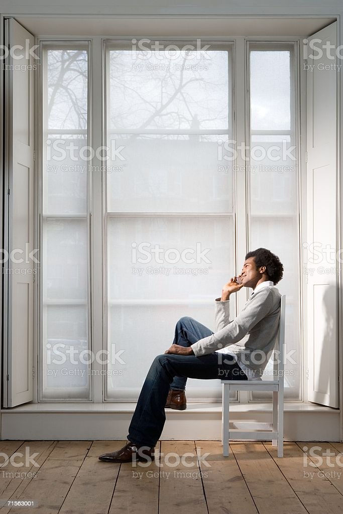 Man on his cell phone royalty-free stock photo