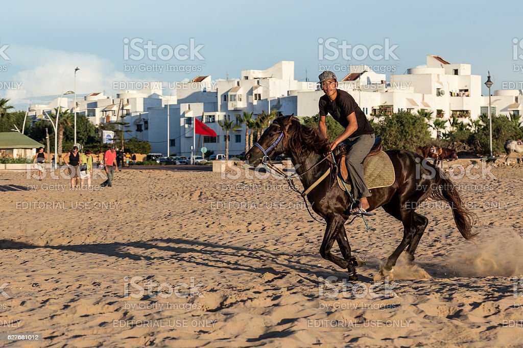 Man on his horse on a beach in Essaouira. stock photo