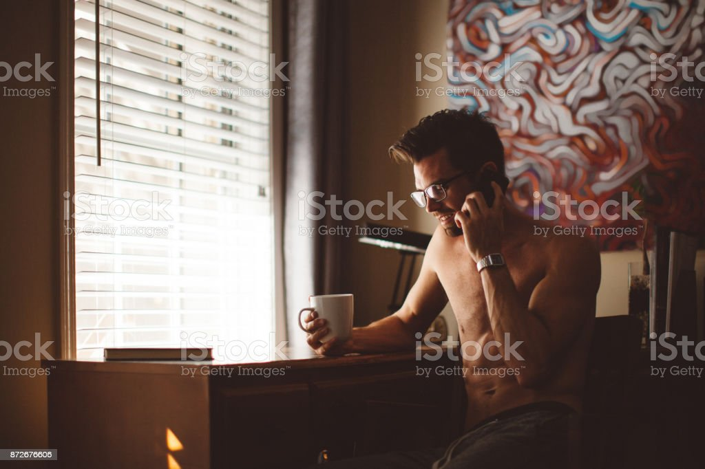 man on his mobile phone stock photo
