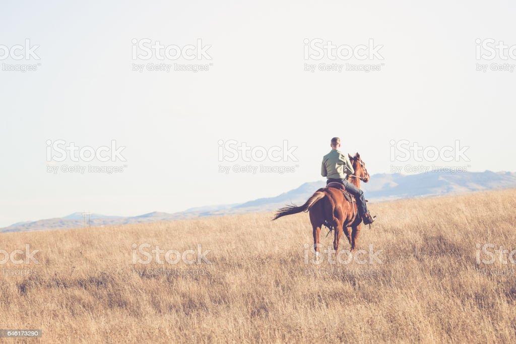 Man On Horseback Riding Away stock photo