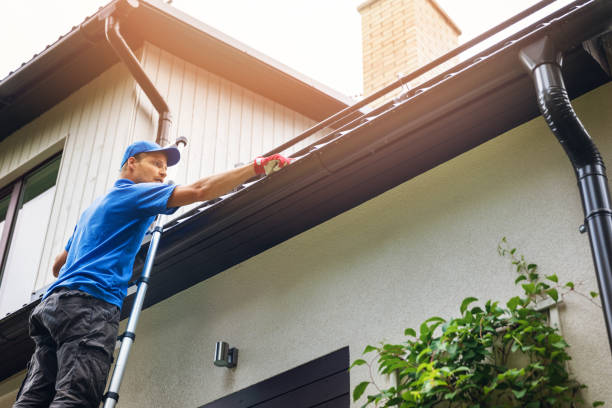 man on ladder cleaning house gutter from leaves and dirt - clean stock pictures, royalty-free photos & images