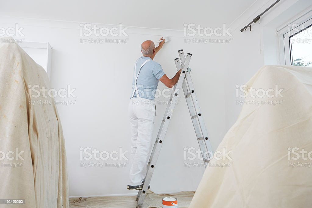 Man On Ladder Decorating Domestic Room With Paint Brush stock photo
