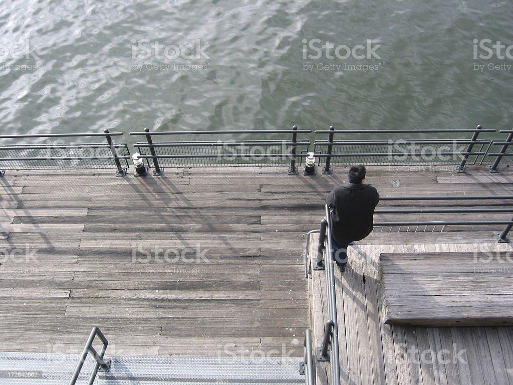 Man on Manhattan Dock royalty-free stock photo