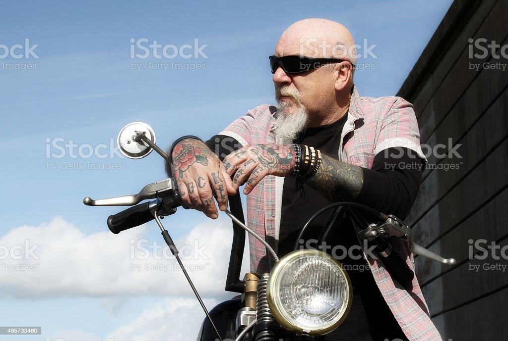 man on motorbike stock photo