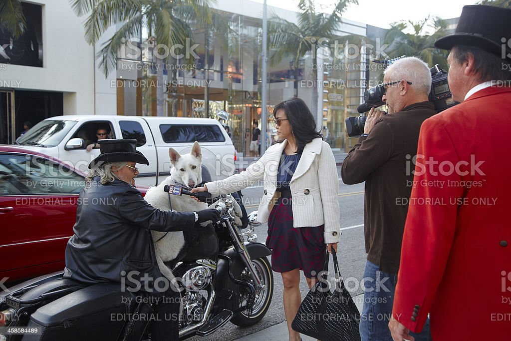Man on Motorcycle Interviewed About Beverly Hills Ambassador royalty-free stock photo