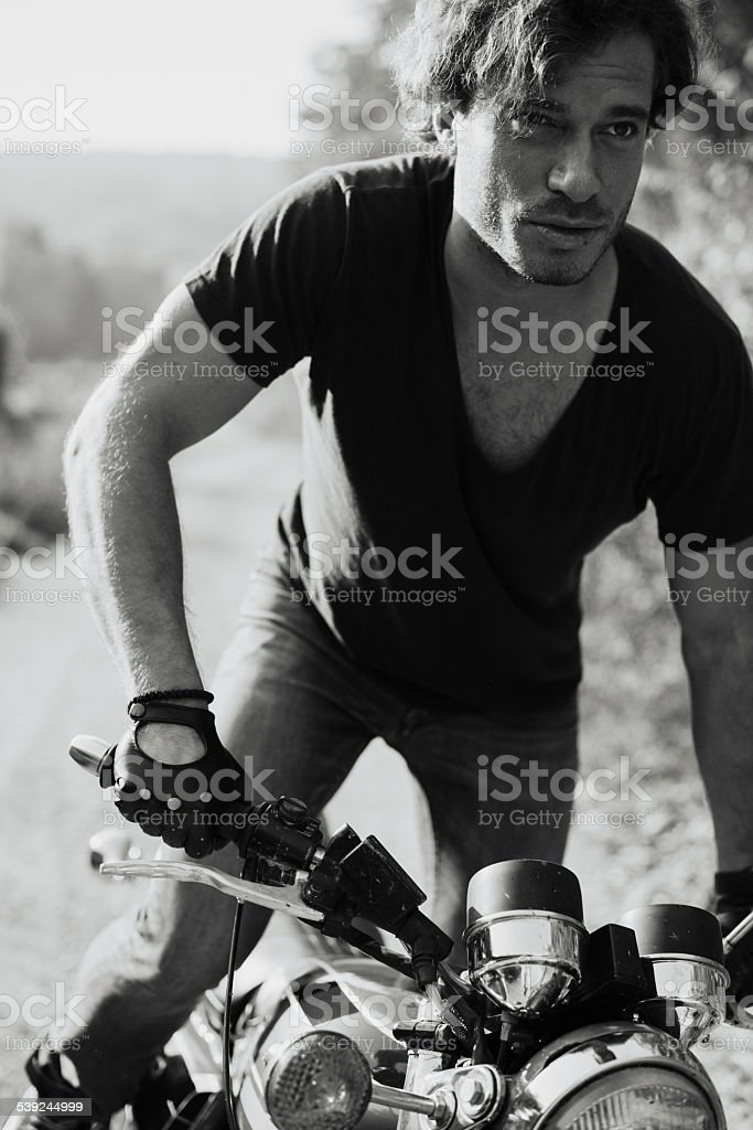 Man on motorcycle royalty-free stock photo