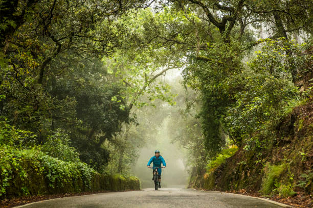 Man on mountain bike riding in the middle of rural road. stock photo