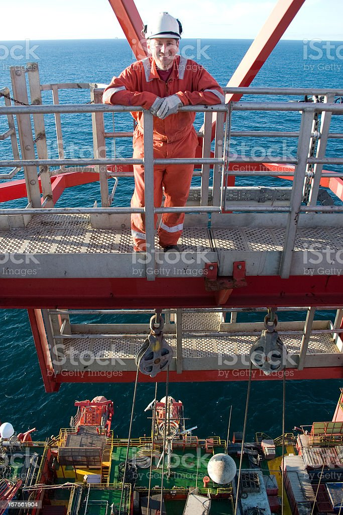 man on oil rig royalty-free stock photo