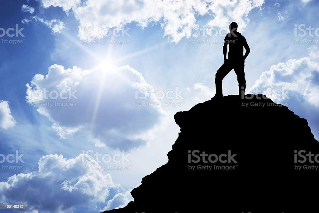 Man on peak royalty-free stock photo