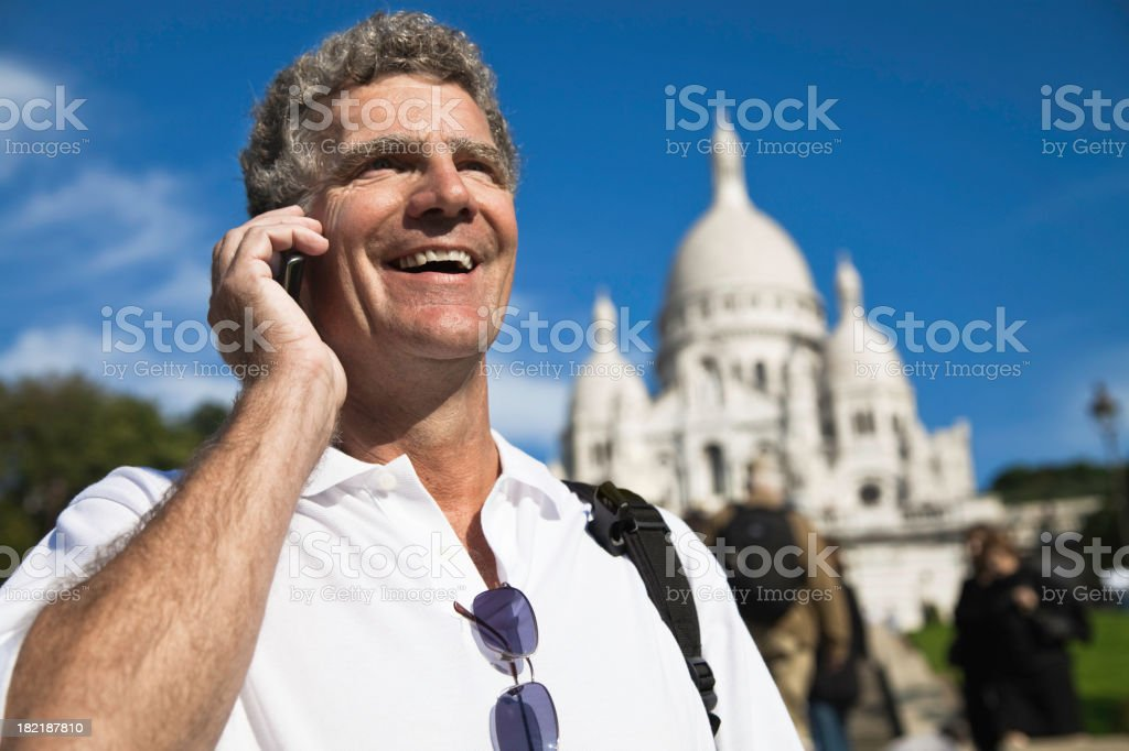 Man on Phone in Paris royalty-free stock photo
