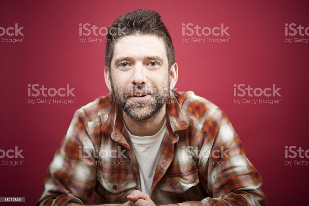 Man on Red stock photo